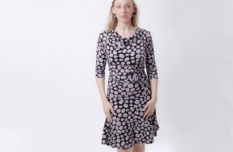 שמלת הריון והנקה רבידות עם הדפס פרחים