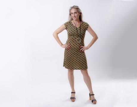 שמלת הנקה מעטפת גאומטרית ירוקה שרוול קצר אזל במלאי