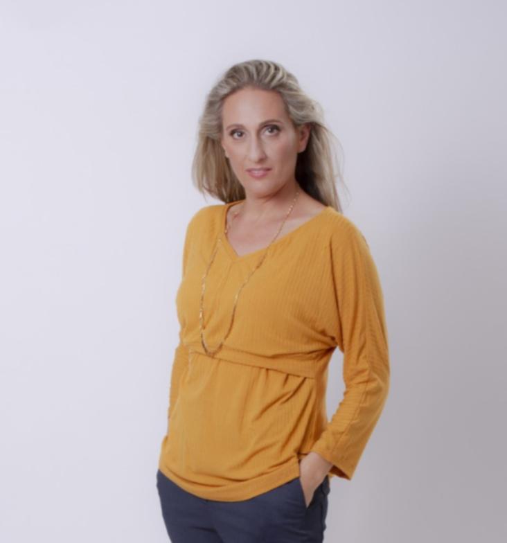 חולצת הנקה עטלף צהוב חרדל